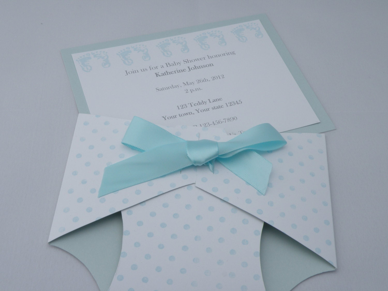 Personalized Diaper Shaped Baby Shower Invitation or Baby