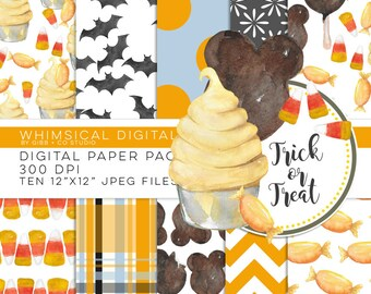 Trick or Treat watercolor digital paper pack - sweets mickey ears dole whip candy corn bats - Whimsical Digitals