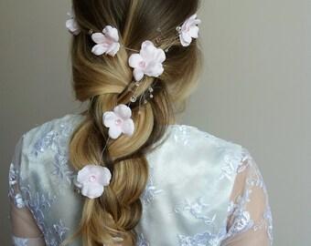 Flower crown blush ,Flower hair vine ,Wedding flower crown,Bridal headband,Floral crown,Flower girl crown ,Beaded Headpiece