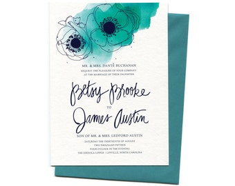 Wedding Invitation Suite in Peacock, Watercolor Poppies | Custom Aqua Watercolor Floral Wedding Invitation with Hand Calligraphy