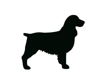 Springer Spaniel Dog Breed Silhouette Custom Die Cut Vinyl Decal Sticker - Choose your Color and Size