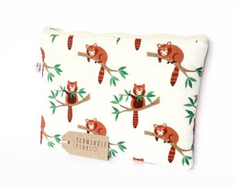Red Panda Makeup Bag, Pencil Case, notions bag, cosmetic bag, makeup pouch, pencil bag