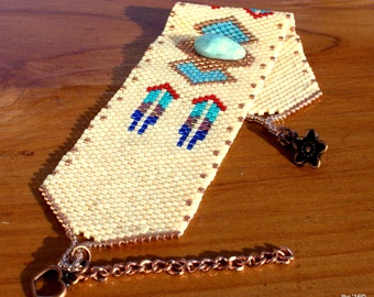 Bracelet de perles Peyote tissée en perles bracelet - manchette BOHO - conception sud-ouest - Peyote perles Bracelet - OOAK - Pierre Larimar - tons de terre couleurs