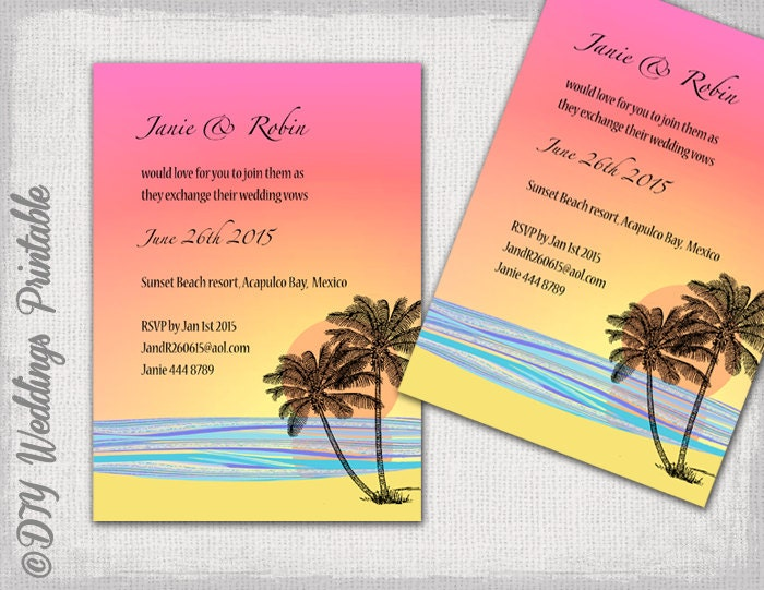 DIY Tropical Beach Wedding invitations template