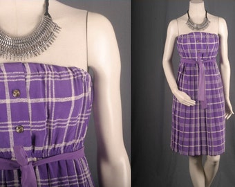 Strapless Dress purple checkered white plaid tartan pleated women S small