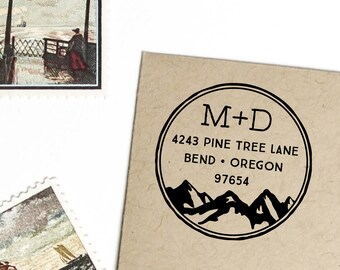 Mountain return address stamp in circle with initials, self inking or wood handle rubber stamp