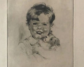 Thayer Etching Boston 1930's  Young Boy With Puppy Dog
