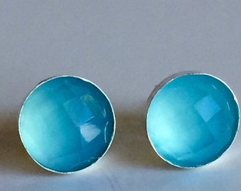 MothersDaySale Blue Chalcedony 8mm Rose Cut Sterling Silver Bezel Set Studs