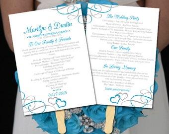 "DIY Wedding Program Fan Template - Printable Wedding Program ""Entwined Hearts"" Malibu Silver Order of Ceremony Instant Download Printable"