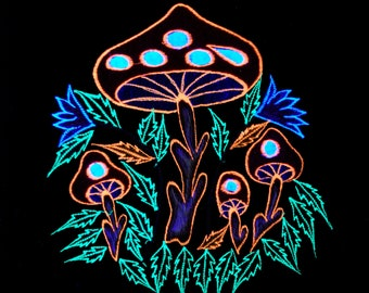 Psy UV Active T-SHIRTS Unisex Embroidered Mushrooms - FREE Shipping