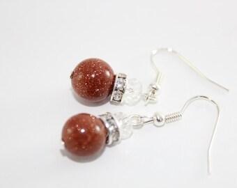 Elegant Crystal - Zircons and Gemstones Dangling Earrings - Sunstone