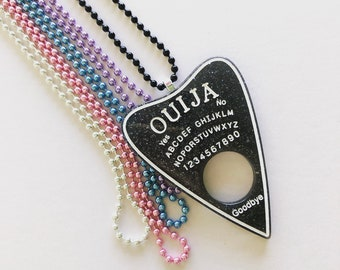 Black Glitter Ouija Board Necklace, Pastel Goth Necklace, Kawaii Necklace, Fairy Kei Necklace, Sweet Lolita, Ouija Planchette