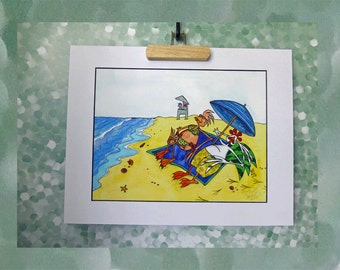 Beach Day Art Print Tanning Ocean Vacation Relax Happy Couple Sand 11x14 Mat