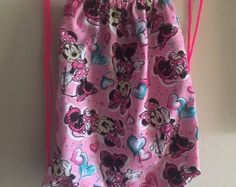 Pink Mouse Drawstring backpack