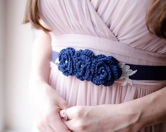 Navy blue bridal sash belt, navy wedding sash, blue bridesmaid belt, lace bridal belt, ribbon belt, vintage wedding belt, bridal sash belt