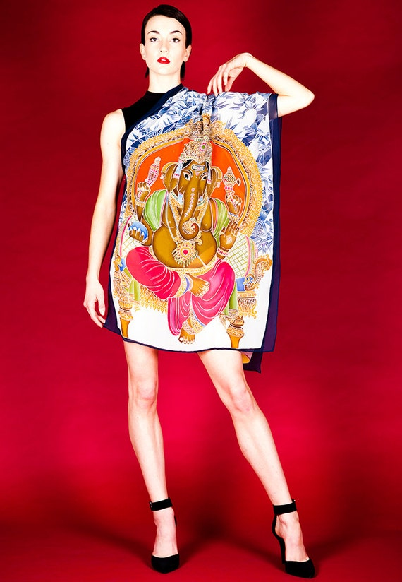 Hand painted Buddha and Ganesha silk scarf
