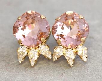 Blush Studs,Blush Swarovski Earrings,Blush Pink Crystal Earrings,Bridal Blush Jewelry,Bridesmaids Earrings,Bridal Peach Earrings