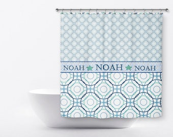Personalized Shower Curtain For Kids - Geometric Shower Curtain - Custom Shower Curtain - Boys Custom Shower Curtain  - Name Shower Curtain