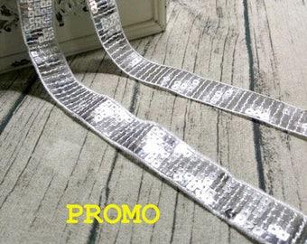CLEARANCE SALE! 17xmetres stripe sequin glitter 2.3 cm - 20 silver glitter Ribbon