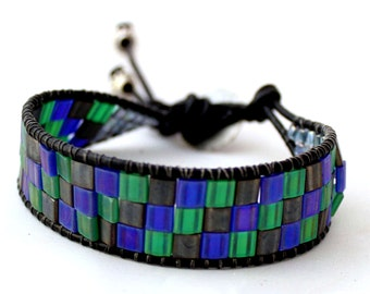 SALE-Tila Leather Cuff in Blue, Green and Gray