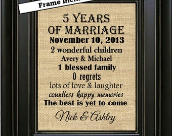 FRAMED Personalized 5 Year Anniversary Gift/5th Anniversary Gifts/5th Anniversary gift for couple/Anniversary gift for him/Gift for her