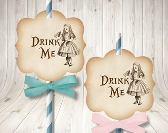 Alice in Wonderland Straw Toppers, Drink Me Toppers - Wonderland Birthday - Alice in Wonderland Tea Party - Wonderland Cupcake Toppers