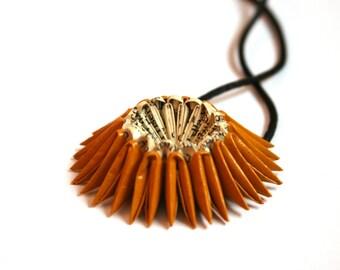 Saffron Yellow Origami Sunburst Necklace - Paper Necklace