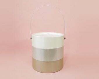 Lucite Ice Bucket Mid Century Modern Beige 3 Tones Elegant MCM Bar Cart Accessories Modern Ice Bucket Bottle Cooler Mad Men Style