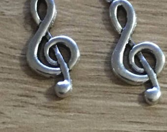 set of 5 music notes 26 x 10 mm Tibetan antique silver