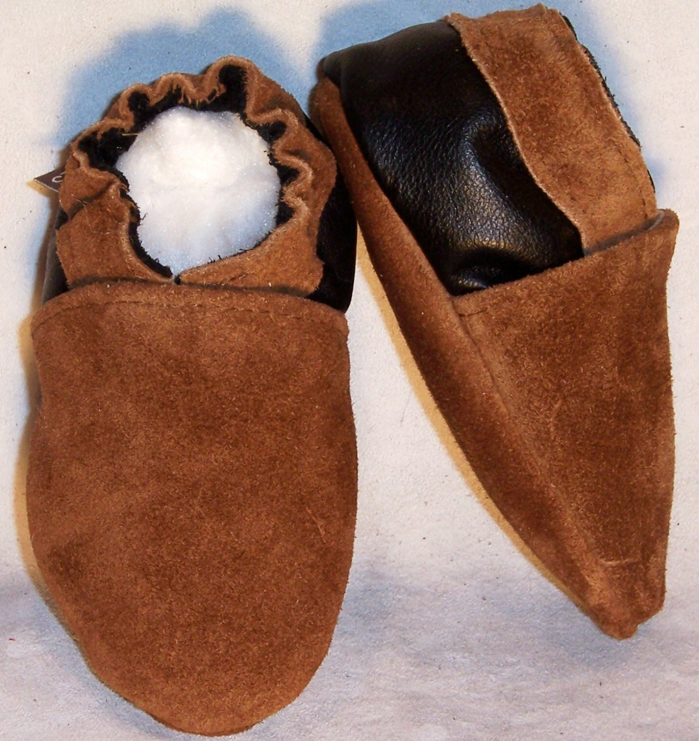Moxies soft soled leather baby shoes 2 tone brown suede choose size