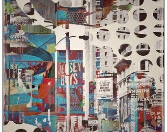 New York City, Monument, Wolkenkratzer, Mixedmedia Kunst, Pattern, Overpaint, Vintage, Verkehr, Streetlife, bunt, psychedelisch, punkte