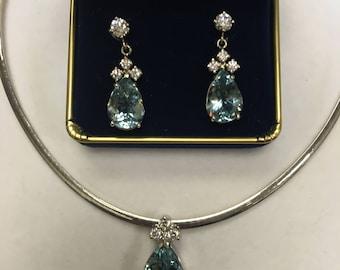 AQUAMARINE-HIGH END Aqua Necklace and Earrings