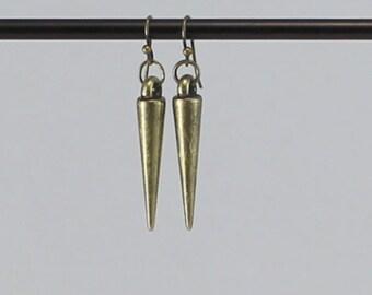 Gold spike earrings, gold dangle earring, spike earrings.