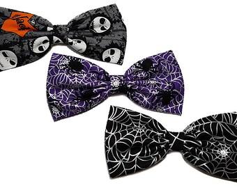 Halloween Hair Bow- Jack Skellington Hair Bow- Metallic Webs- Black Widow Hair Bow