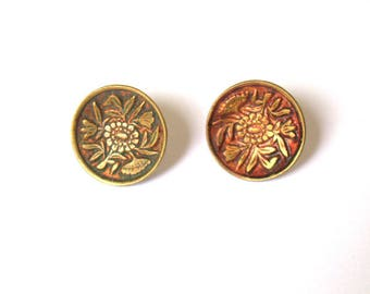 Metallic Flower Buttons x 2 1800s
