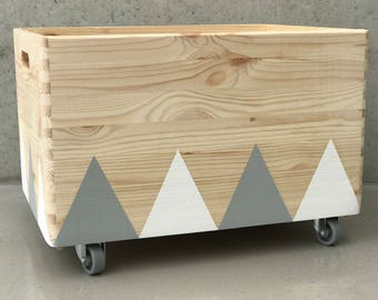 Wooden toy box rolling triangel Scandinavian design for Kid-Rooms - white/grey