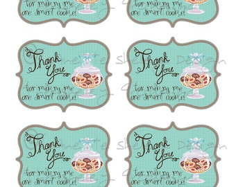 Cookie tag printable teacher appreciation gift thank you diy printable teacher appreciation one smart cookie gift tags negle Choice Image