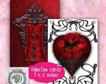Gothic Valentines Day Card Designs Set 2