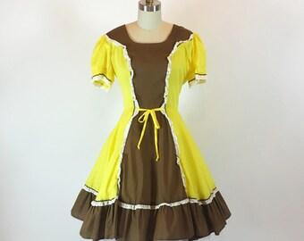 "Vintage 60s Rockabilly Dress | Full Skirt | K and K Dresses | 28"" Waist"