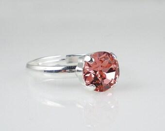 Rose Peach Rhinestone Ring  Adjustable Ring Jewelry
