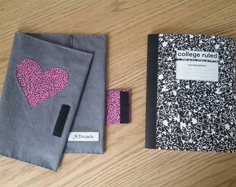 Reusable Notebook Cover - Grey Denim and Pink Leopard