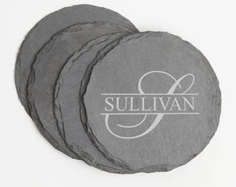 Personalized Slate Coasters, Circle Engraved Slate Coaster, Personalized Coaster, Monogram, Personalized Wedding Gift, Housewarming Gift D25