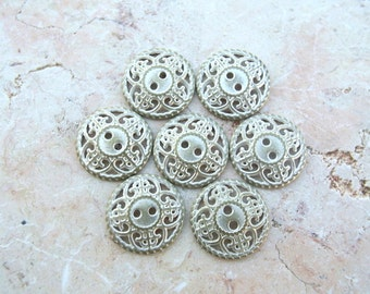 6 vintage metal buttons 16mm silver color new buttons
