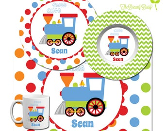 Personalized Plate for Kids - Train Plate, Bowl, Mug or Placemat - Train Personalized Dinnerware - Custom Kids' Tableware - Microwave Safe