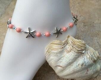 Silver Starfish Pink Coral Swarovski Pearl & Crystal Ankle Bracelet