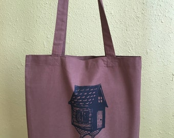 Screen Printed Baba Yaga Hut Brown Tote