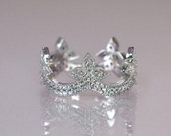 Crown Wedding Band, Diamond Engagement Ring, White Gold Tiara Ring, Unique Wedding Ring, Diamond Crown Ring