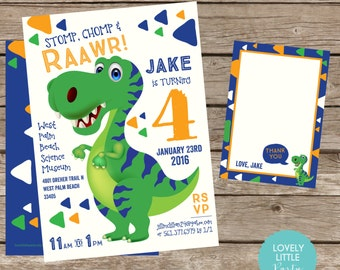 Dinosaur Theme Birthday Invitation Kit  Printable or Printable Option- Invite AND Thank You Card included