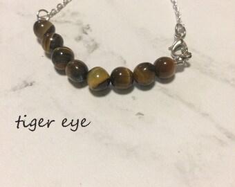 crystal healing tiger eye bracelet/anklet/necklace, birthstone bracelet gemstone bar bracelet, crystal bar bracelet