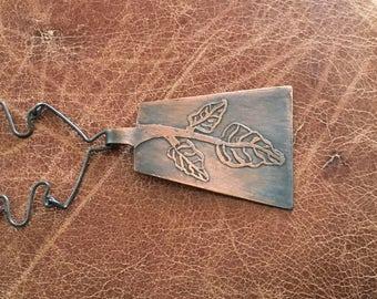 etched leaf necklace